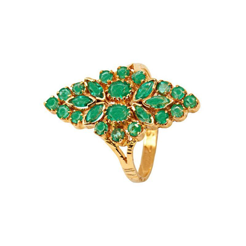22k Gold Green Garden Emerald Ring