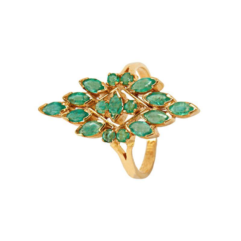 22k Gold Emerald Saga Cocktail Ring