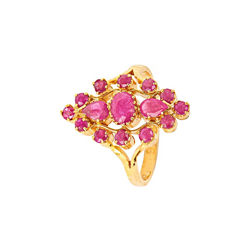 22k Gold Ruby Blossom Ring