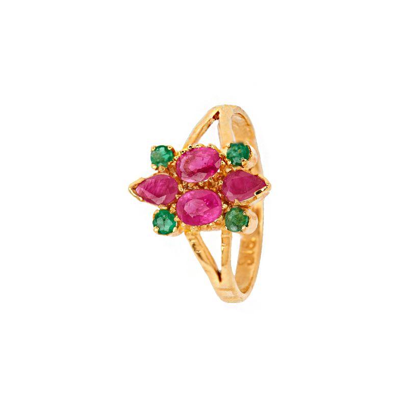 22k Gold Ruby Emerald Gemstone Ring