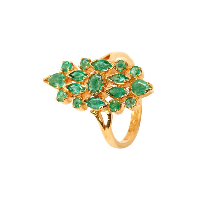22k Gold Green Beryl Cocktail Ring