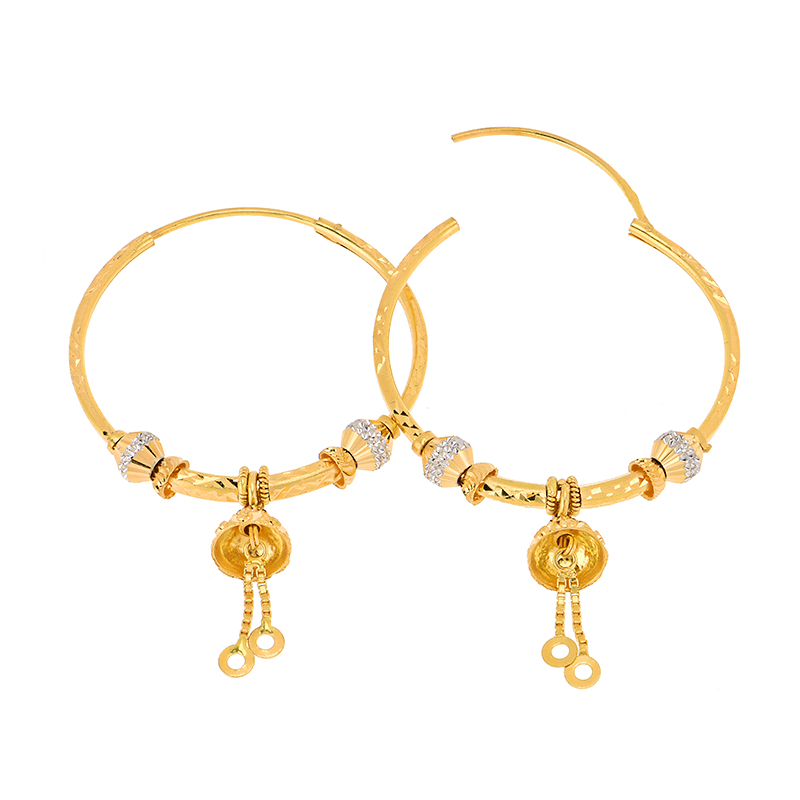Dangle Drop Gold Hoops