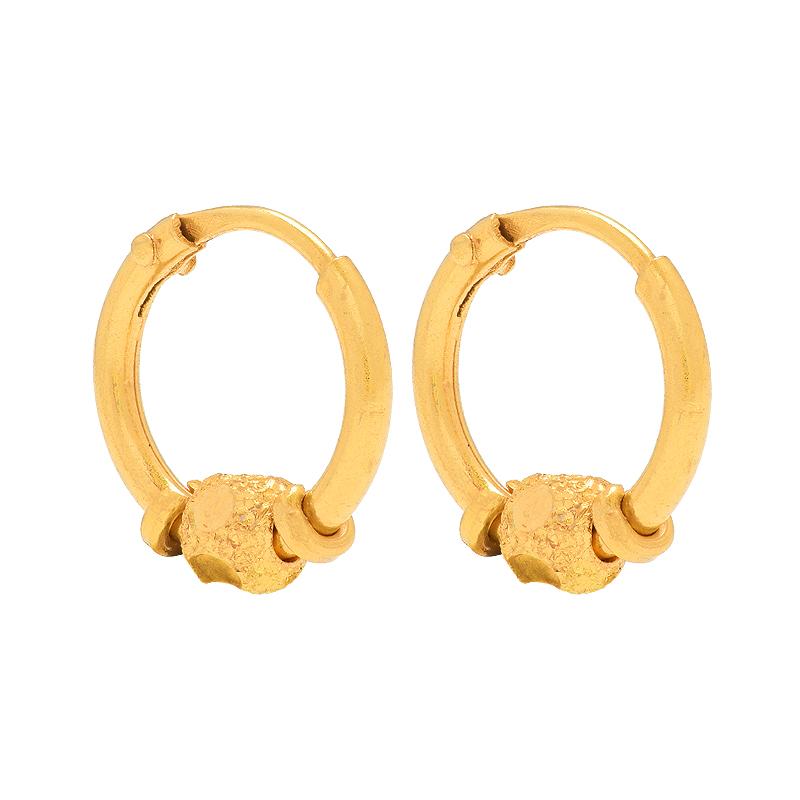 Textured Bead Gold Hoops