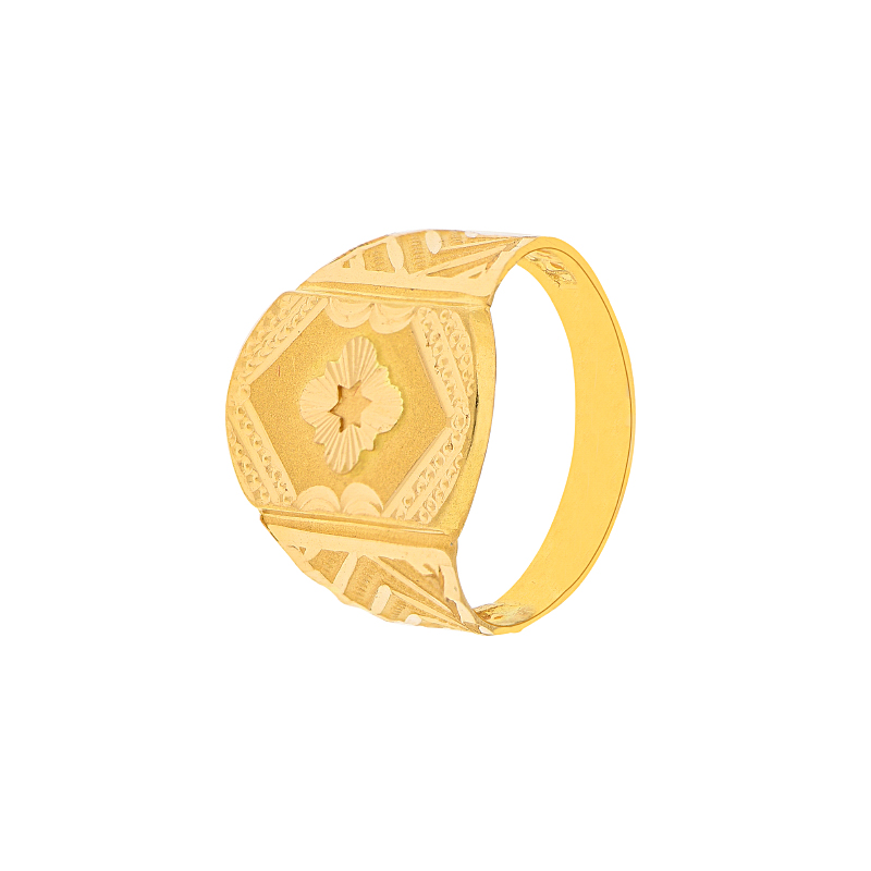 Embossed Design Gold Ring