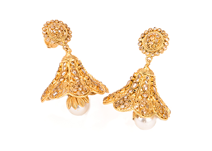 22k Gold Antique Jhumka Earrings