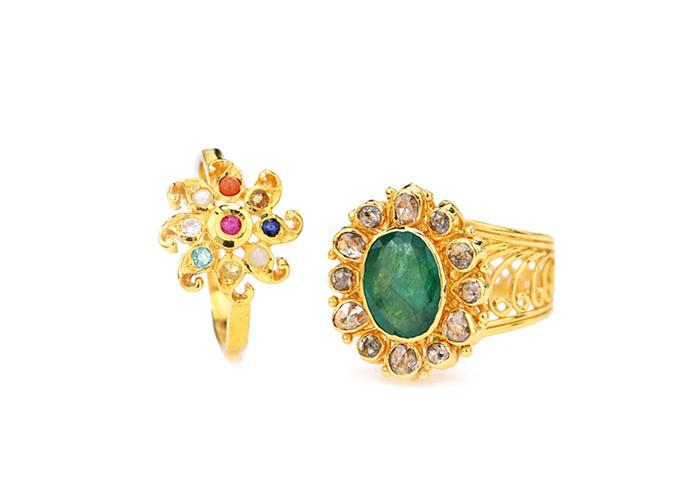 22k gold-uncut diamonds rings