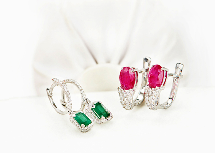 diamond hoop & stud earrings