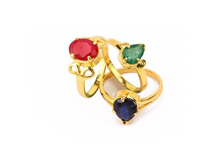 22k gold gemstone rings