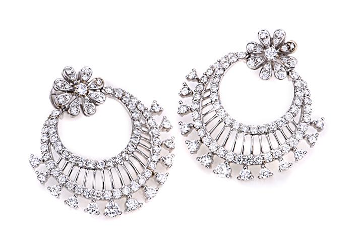 Diamond chand bali earrings
