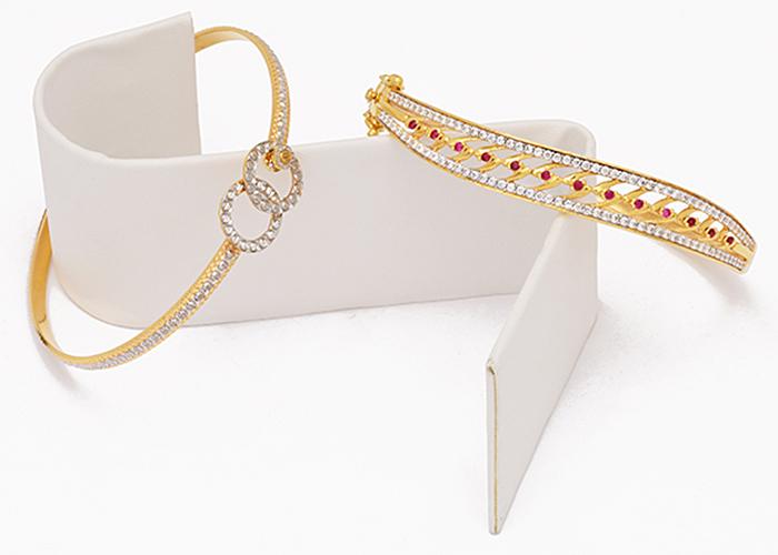 22k cz gold bangle bracelets for her