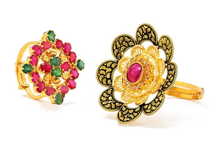 22k gold gemstone rings for her