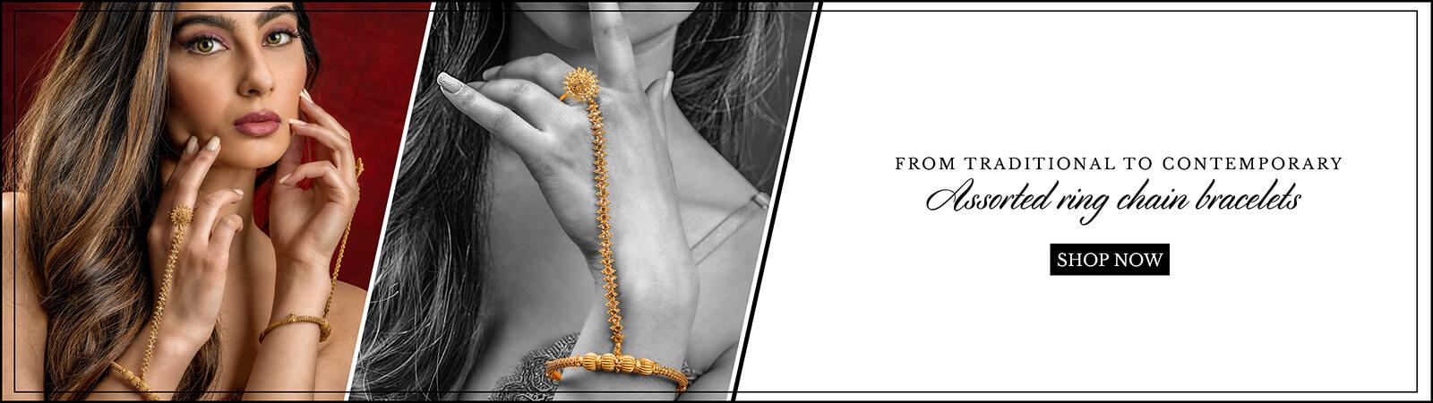 22k gold ring chain bracelets