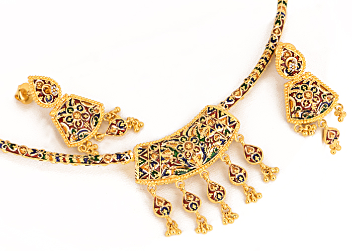 22k gold reversible necklace sets