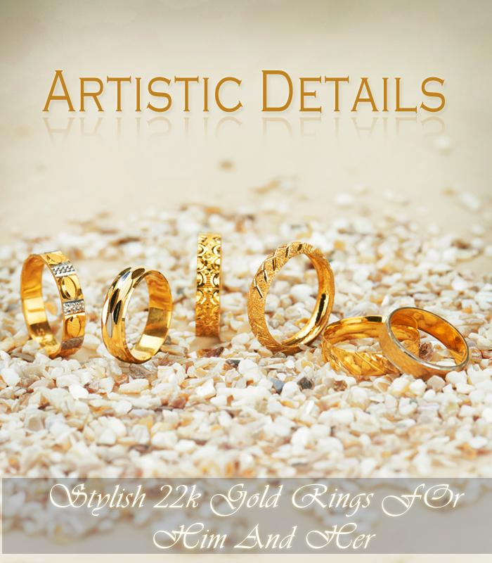 Artistic designer gold rings