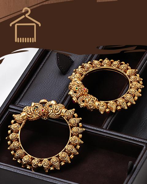 22k antique gold Indian design bangles