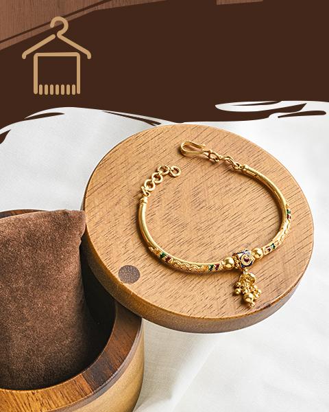 22k yellow gold meenakari cuff bracelet