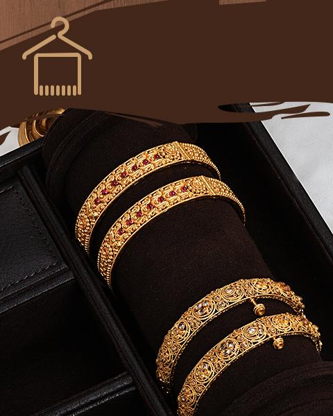 22k gold gheru finish Indian design bangles