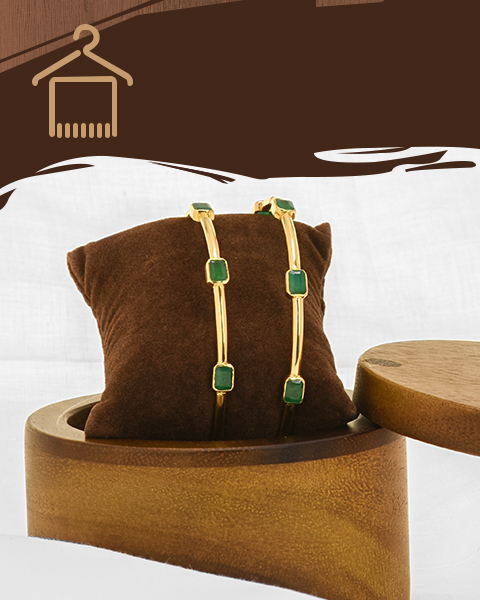 22k yellow gold emerald gems bangles