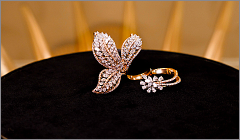 two finger diamond brooch ring