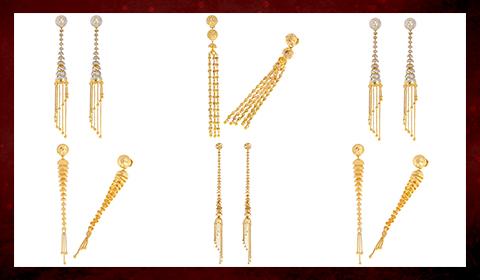 tassel earrings & gold drops