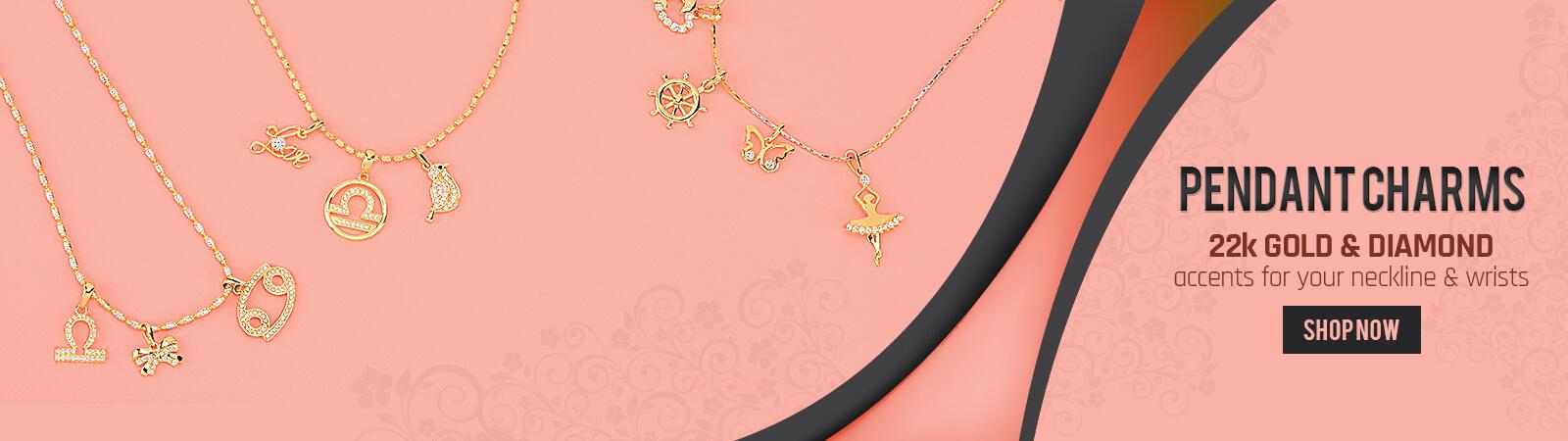 22k Gold Cz Diamond Charm Pendants