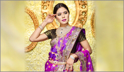 south indian bridal reception look