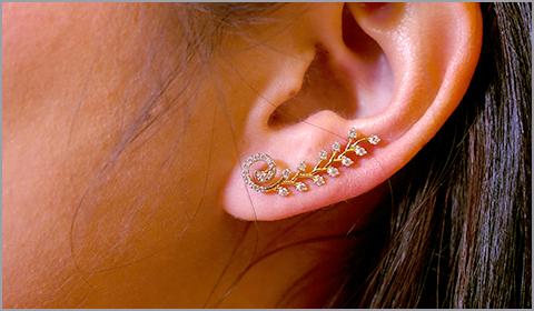 unusual diamond ear crawlers