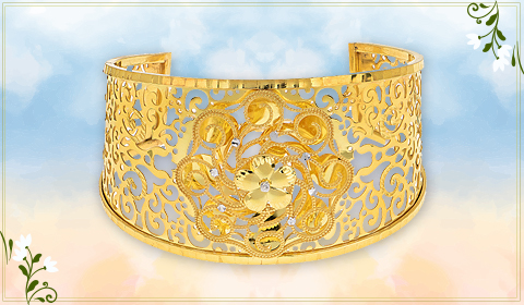floral design bangle bracelet in 22k gold
