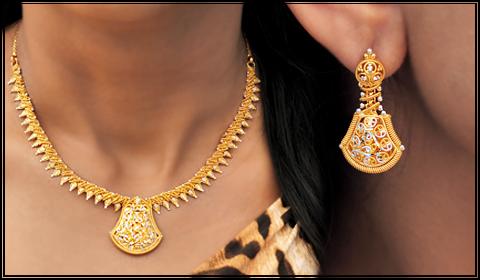 22k gold filigree necklace set