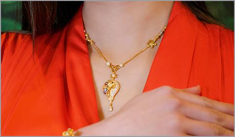 floral cz drop necklace