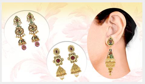 meenakari mughal jhumka designs