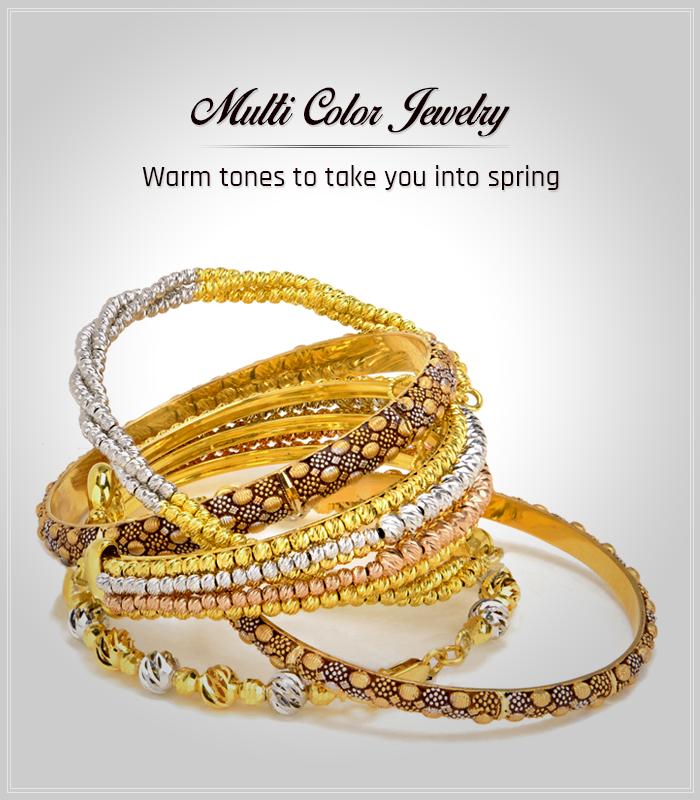 Multi-tone gold jewelry