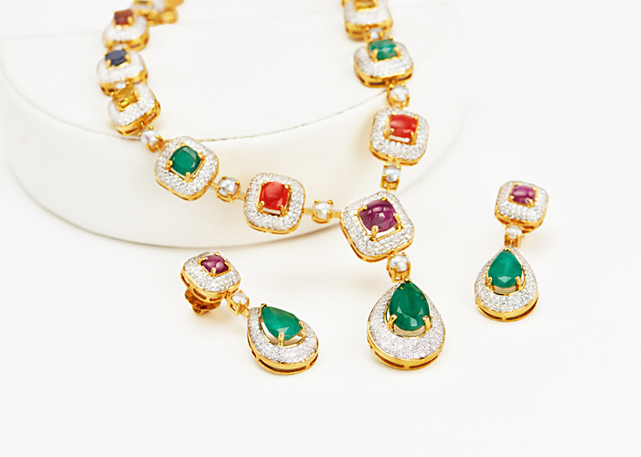 Designer Navratna Gemstone Necklace