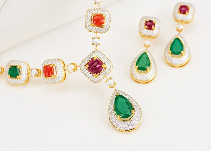 Navratna Diamond Necklace set
