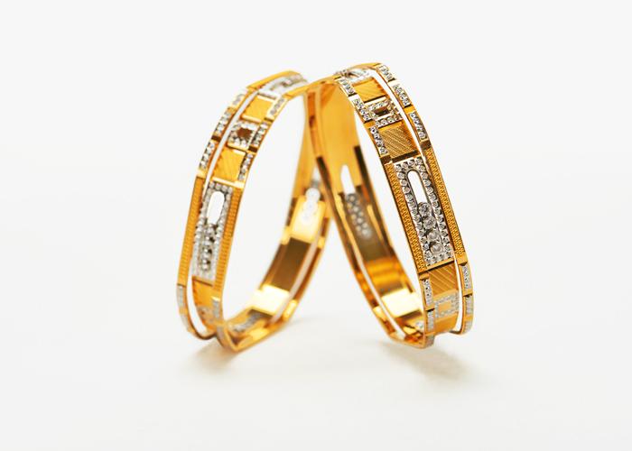 two-tone cz gold bangles