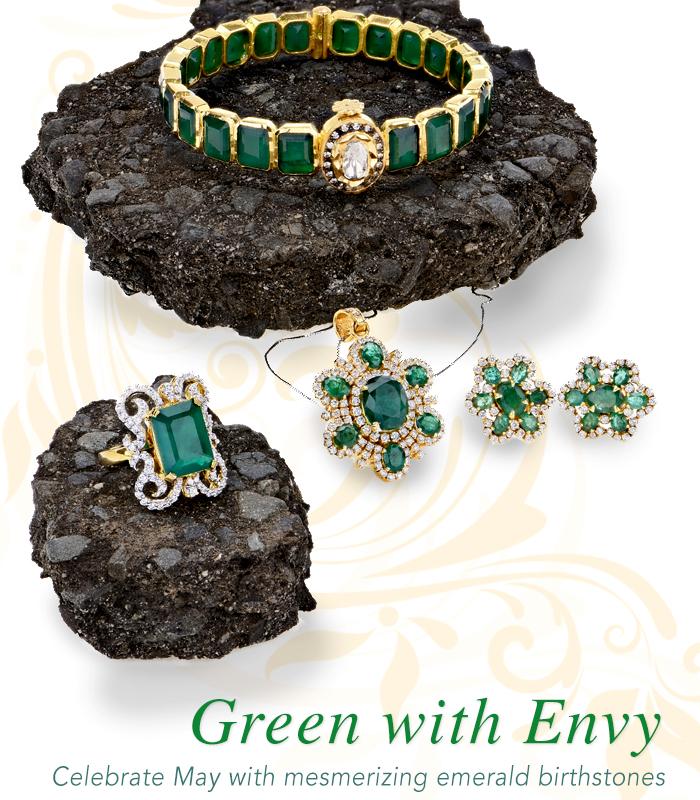 Emerald birthstone jewelry collection