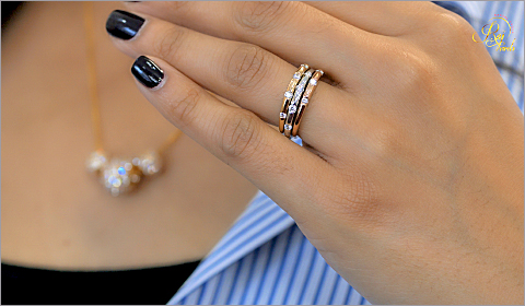 banker stripes paired with stackable diamond rings