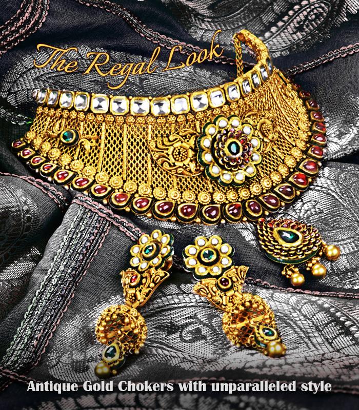 bridal antique gold choker necklace