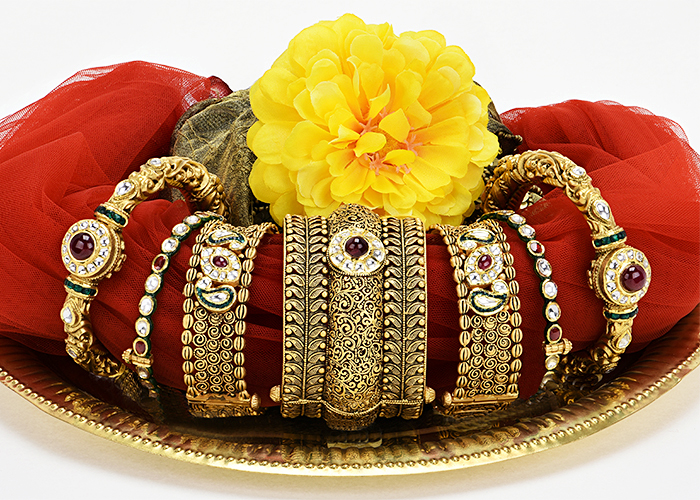 22k gold designer antique bangles for wedding