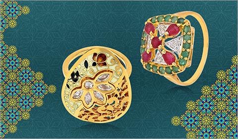 22k gold kundan cz ring