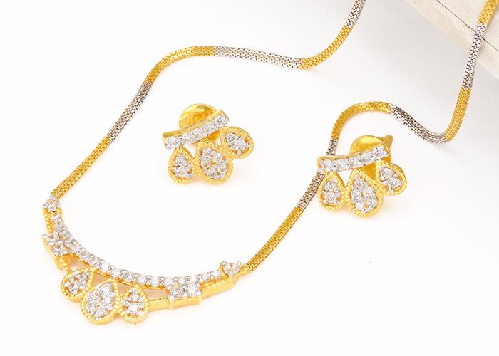 22k cz gold necklace set