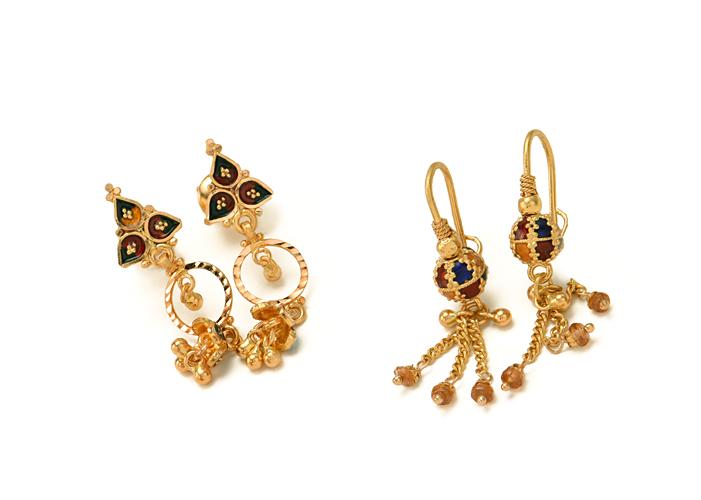 22k gold dangle earrings