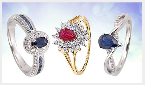 gemstone diamond enagagement rings