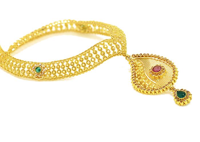 22k gold stone necklace