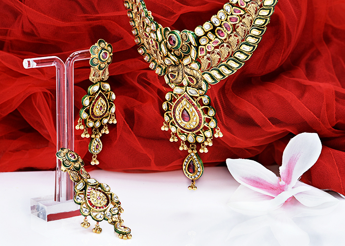 kundan bridal antique gold necklace set
