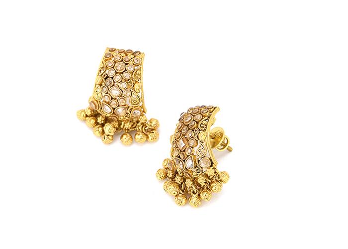 22 karat antique gold polki earrings for her