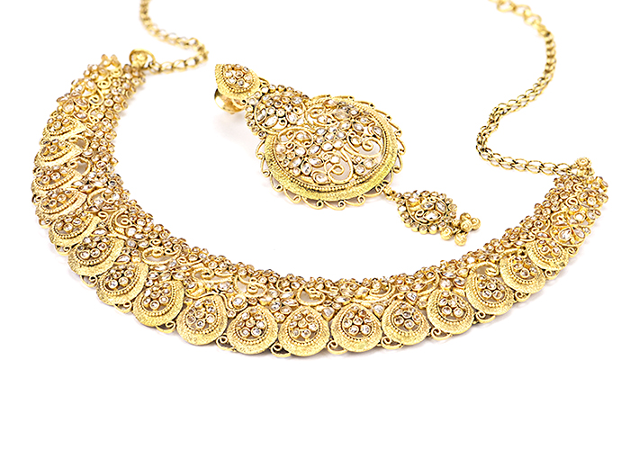 Polki antique gold 22k necklaces
