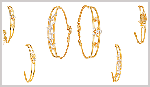 semi gold bangle bracelets