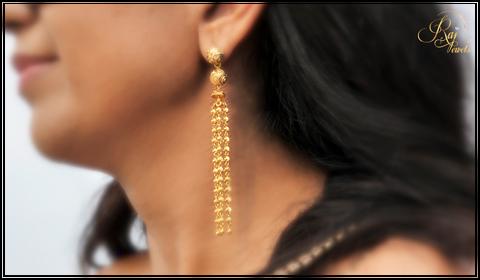 22k gold tassel earrings