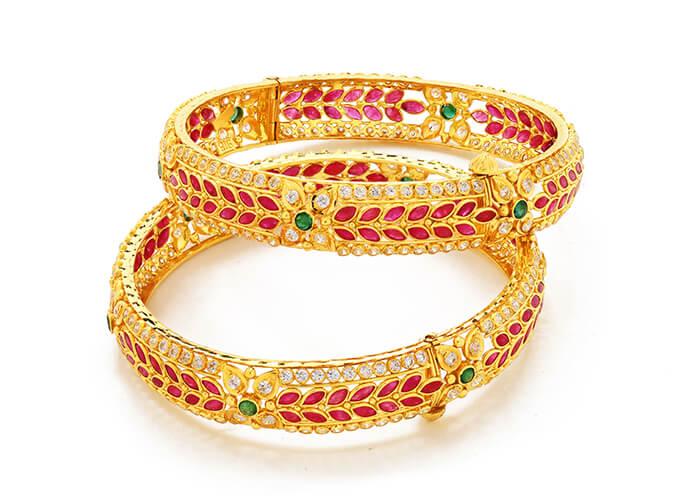 22k gold gemstone bangles for her